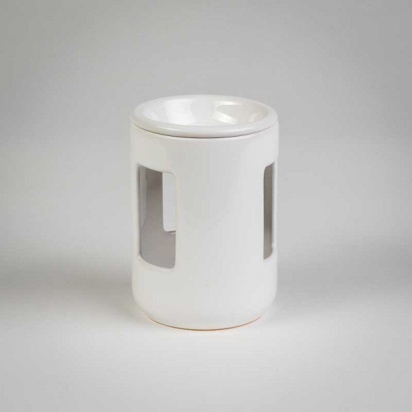 Fragrance Lamps Ceramics - White - Cylinder