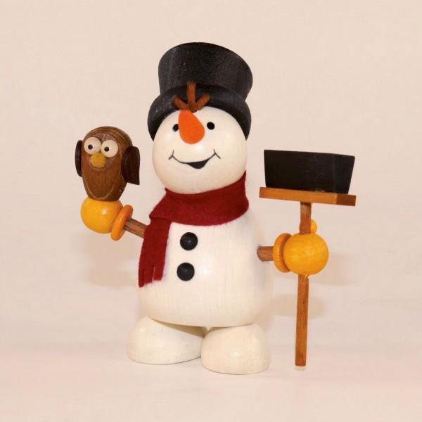 Schneemann mit Eule und Besen