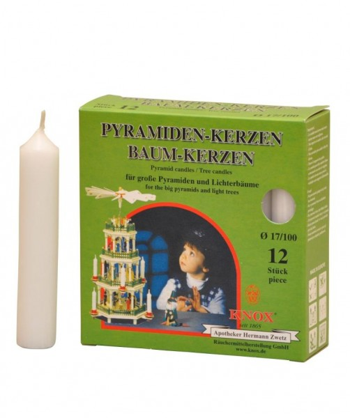 Pyramid Candles Knox white 12 pieces / pack.