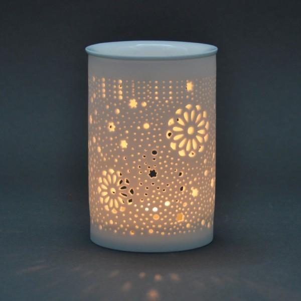 Duftlampe Keramik - weiß - Zylinder